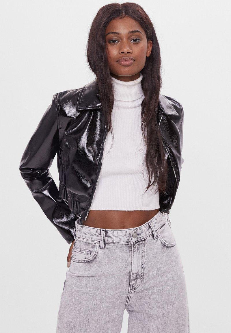 Bershka - VINYL - Leather jacket - black