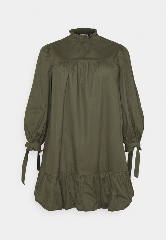TIE SLEEVE SMOCK DRESS - Day dress - khaki