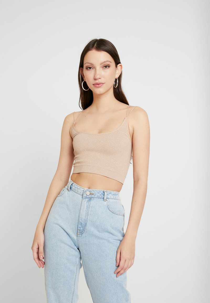 BDG Urban Outfitters - GLITTER STRAPPY BACK CAMI - Top - nude