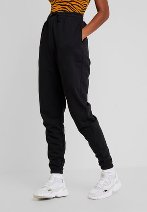 HIGH WAISTED LOOSE FIT JOGGERS  - Tracksuit bottoms - black