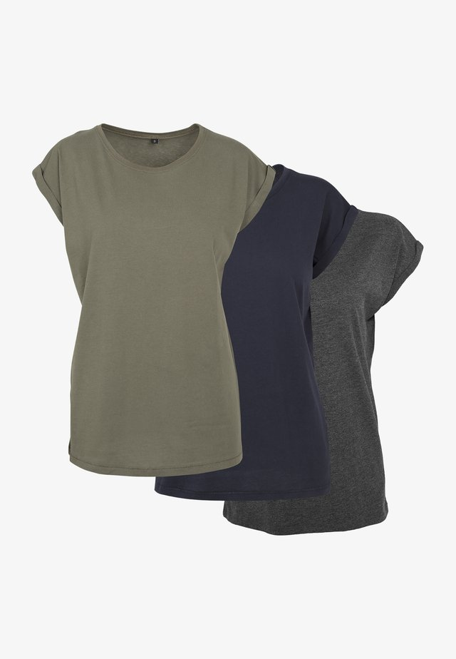 T-shirt basic - cha/oli/nvy