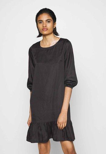 CREW NECK TIERED MINI DRESS - Day dress - dark brown