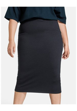 ROCK KNITTED MIDIROCK MADE OF STRUCTURE QUALITY - Pencil skirt - Navy