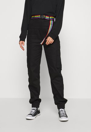 PRIDE RAINBOW BELTED TROUSER - Cargohose - black