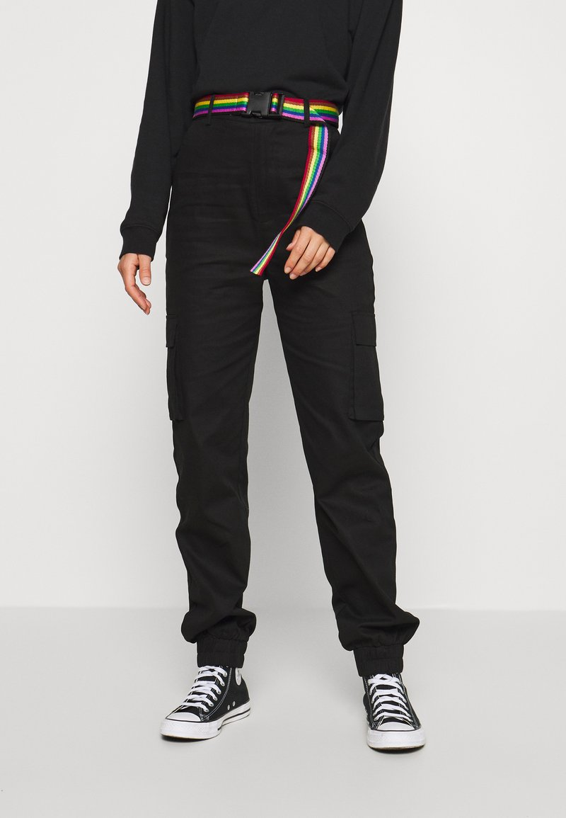 Missguided - PRIDE RAINBOW BELTED TROUSER - Cargo trousers - black