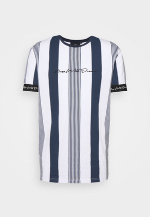 VEDTON STRIPE TEE - Print T-shirt - black iris/white