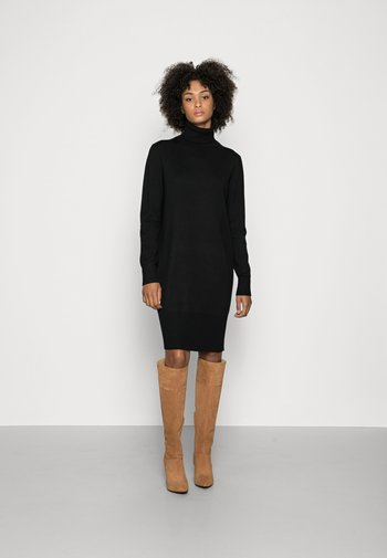 HEAVY DRESS LONGSLEEVE TURTLE NECK - Jumper dress - black