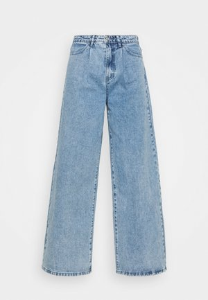 PLEAT WAISTBAND WIDE - Jeans straight leg - blue