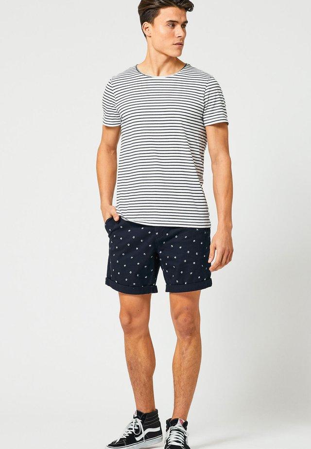 TOOK - T-shirt basic - white/navy