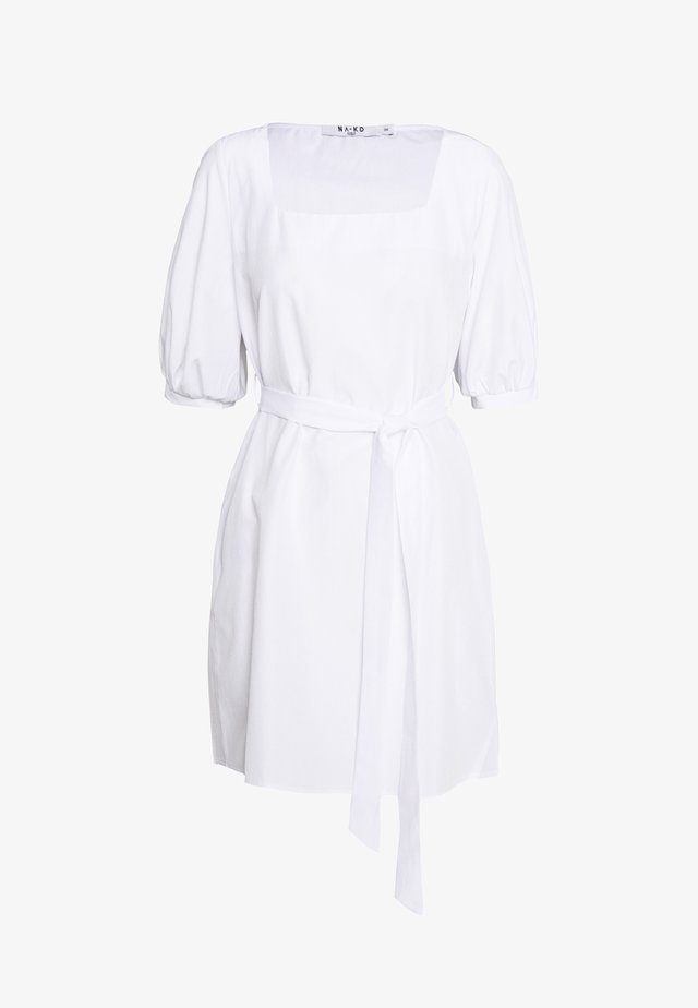 PUFF SLEEVE SQUARE NECK TIE DRESS - Day dress - white