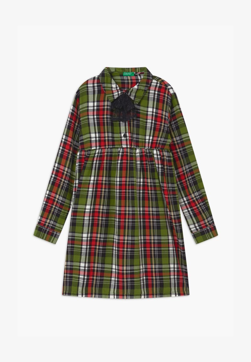 Benetton - HARRY ROCKER  - Shirt dress - red/green