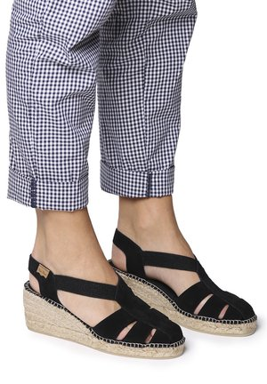 TRAPA - Wedge sandals - black