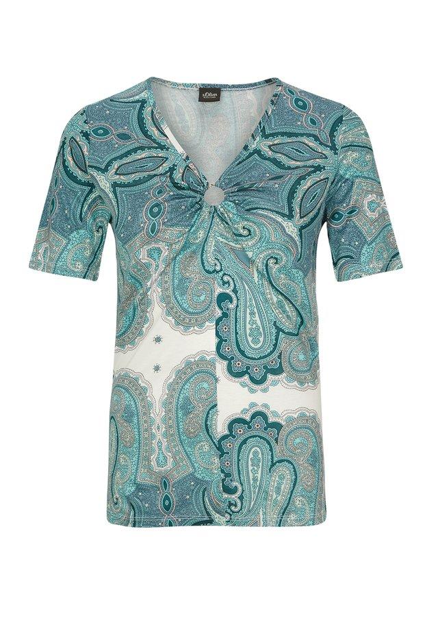 T-shirt print - off-white, light blue
