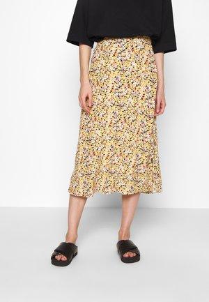 ELASTIC WAIST MIDI SKIRT - A-line skirt -  yellow