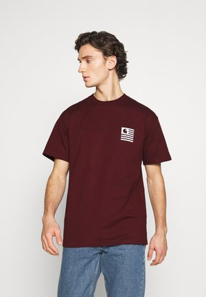 WAVING STATE FLAG  - T-shirt imprimé - bordeaux/white