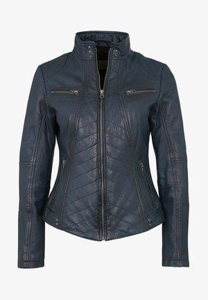 RENATE - Leather jacket - navy