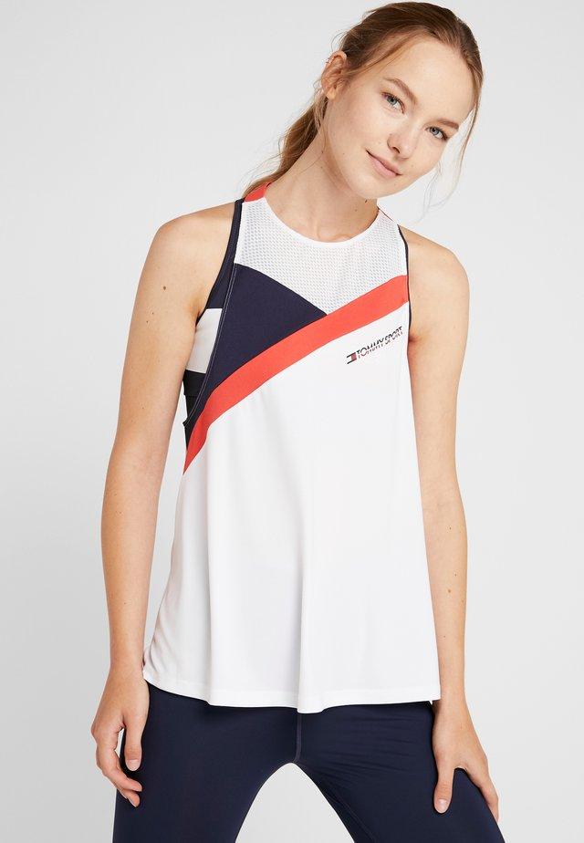 BLOCKED HIGH NECK TANK LOGO - Sports shirt - white