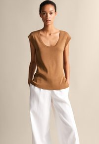 Massimo Dutti - Basic T-shirt - brown - 4