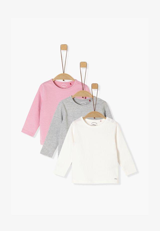 3ER-PACK - Long sleeved top - pink/grey/cream