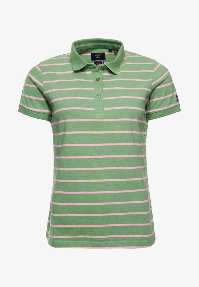 Polo shirt - varsity soft green stripe