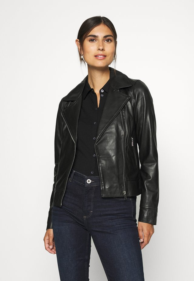 MARJORY - Leather jacket - black