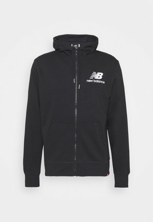 ESSENTIALS STACKED FULL ZIP HOODIE - Collegetakki - black