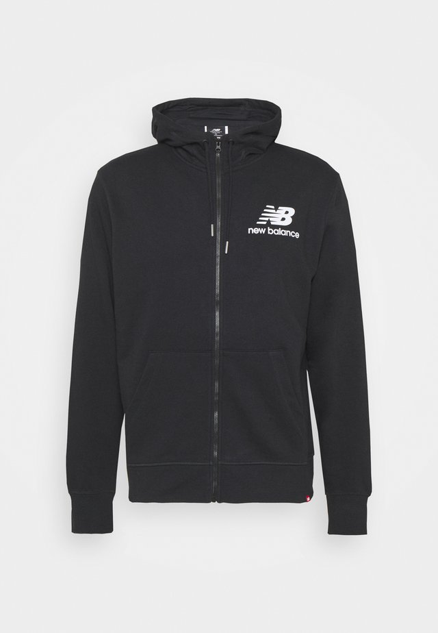 ESSENTIALS STACKED FULL ZIP HOODIE - Huvtröja med dragkedja - black