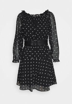 DRAPY  - Day dress - black/white