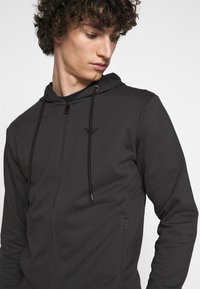 Emporio Armani - ZIPPED HOODIE  - Sweatjacke - dark grey - 3