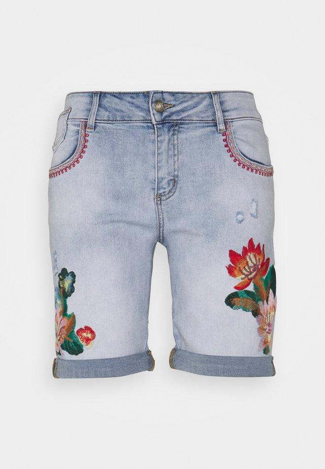 FLORAL SHORT - Denim shorts - blue