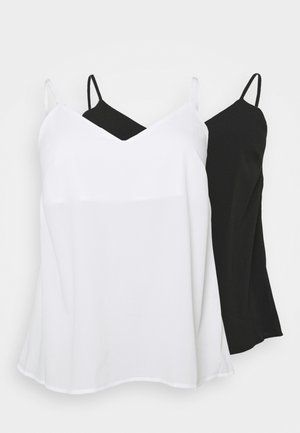 PLAIN STRAPPY CAMI 2 PACK - Top - black/ivory
