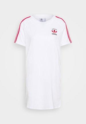 STRIPES SPORTS INSPIRED REGULAR DRESS - Jersey dress - white/scarlet