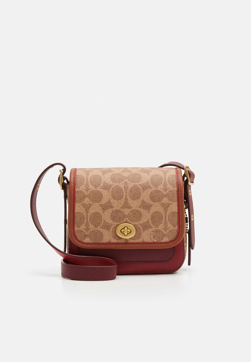 Coach - SIGNATURE WITH CONTRAST TRIM RAMBLER CROSSBODY  - Across body bag - tan/maroon