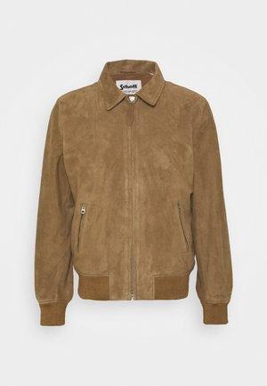 EFFET VELOURS - Kožená bunda - dark beige