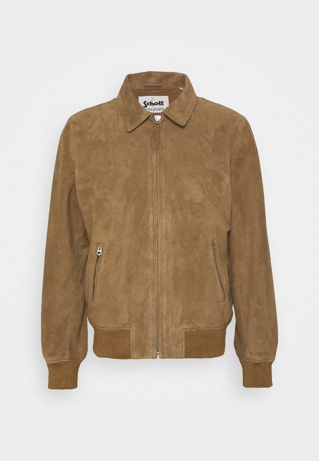 EFFET VELOURS - Leather jacket - dark beige