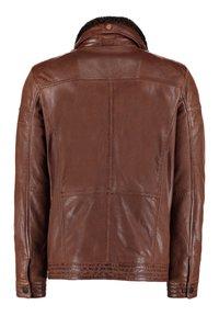 DNR Jackets - MIT TEDDYFELLKRAGEN - Leather jacket - hellbraun - 1