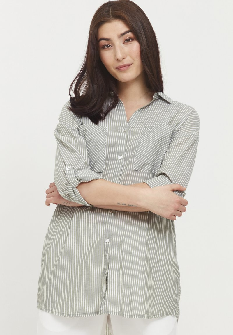 b.young - BYFIE STRIPE - Button-down blouse - olivine mix