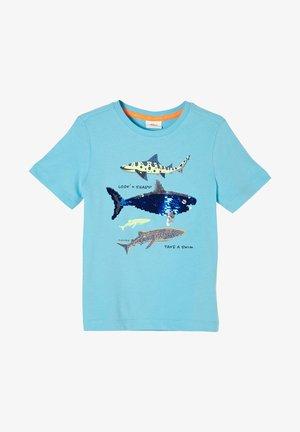 MIT WENDEPAILLETTEN - T-shirt print - aqua