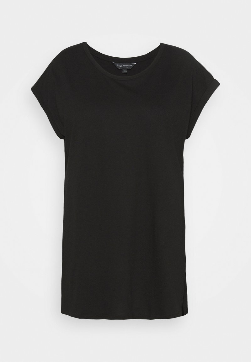 Dorothy Perkins Curve - PLAIN LONGLINE TEE - T-shirts - black