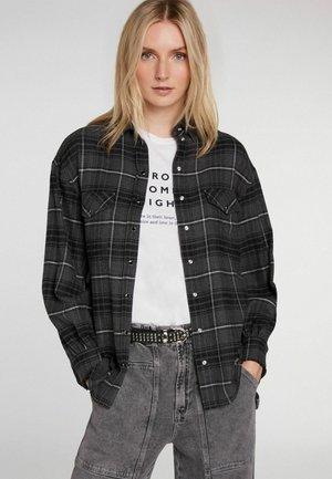 Button-down blouse - dark grey white