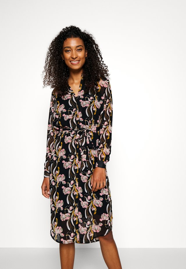 OBJCINNA LONG SHIRT DRESS - Day dress - black/multi colour