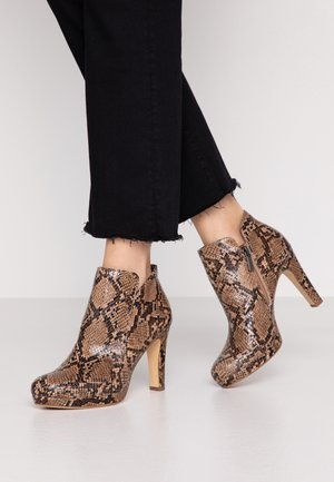 High heeled ankle boots - nut