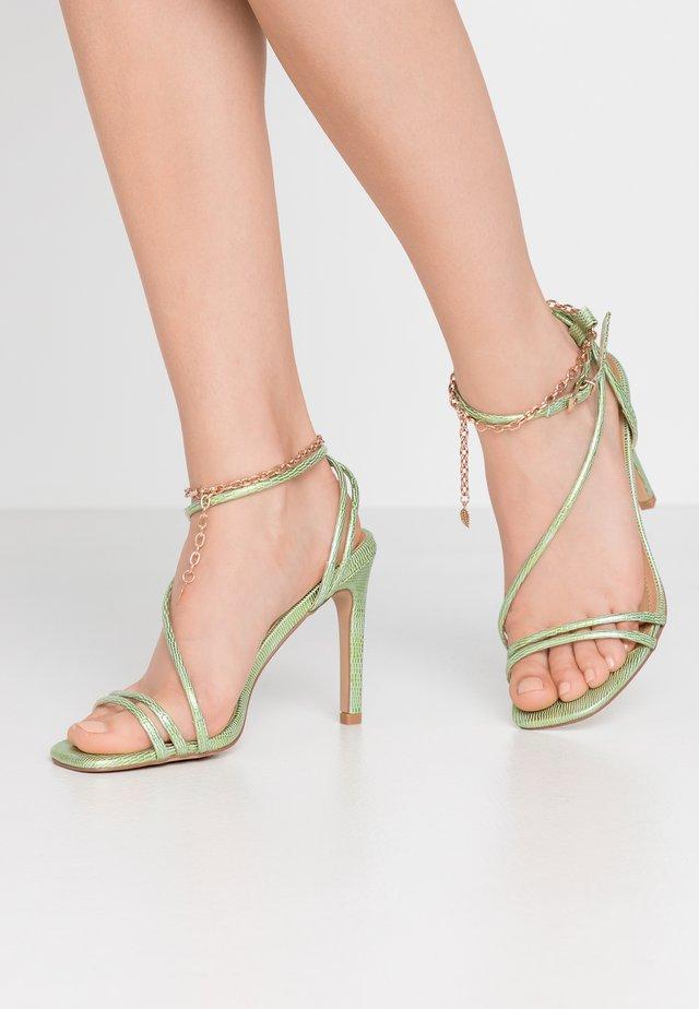 PATTI - High heeled sandals - green/gold
