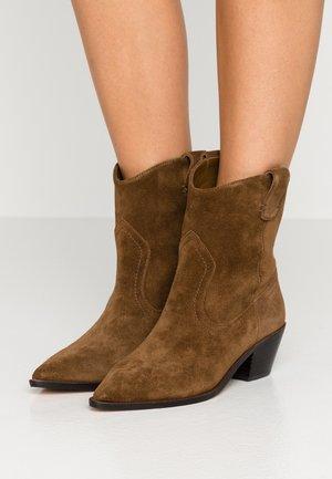 WESTERN BOOT - Cowboy/biker ankle boot - dark pecan
