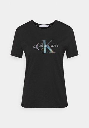 REFLECTIVE MONOGRAM TEE - Print T-shirt - black