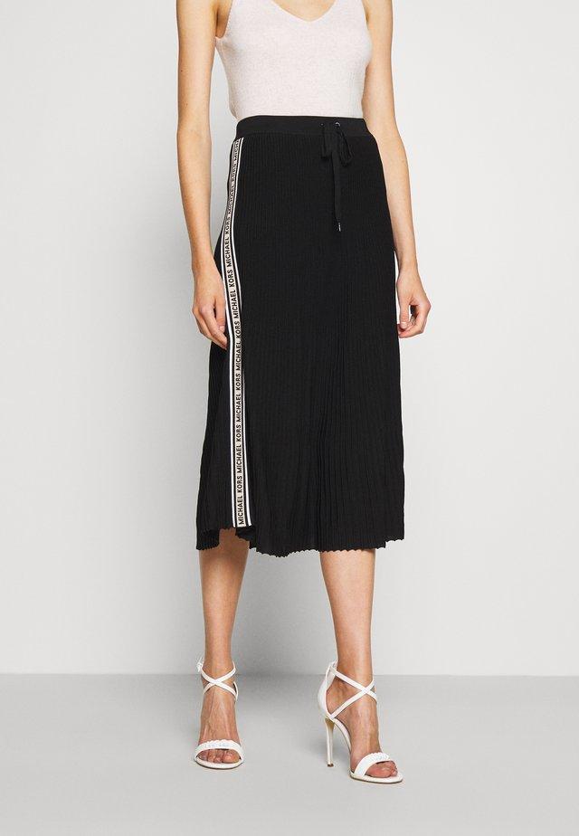 LOGO TAPE MIDI SKIRT - A-line skirt - black