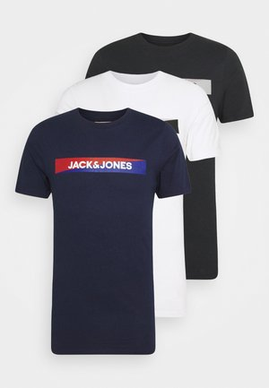 JACTREVOR TEE 3 PACK - Pyžamový top - navy blazer/white/black