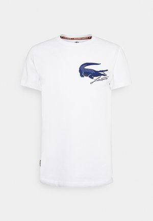 LOGO - Print T-shirt - white/navy blue