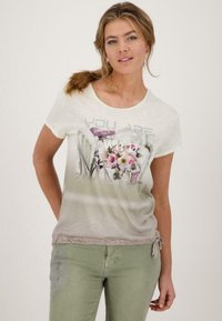 Monari - Print T-shirt - dusty green gemustert - 0