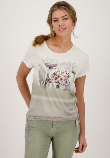 Print T-shirt - dusty green gemustert